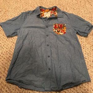 On the byas men's denim button up shirt size large